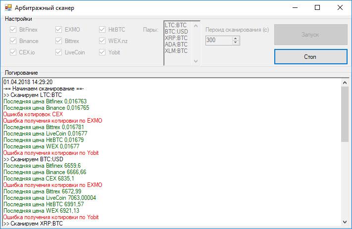 Арбитражный сканер для 9 бирж