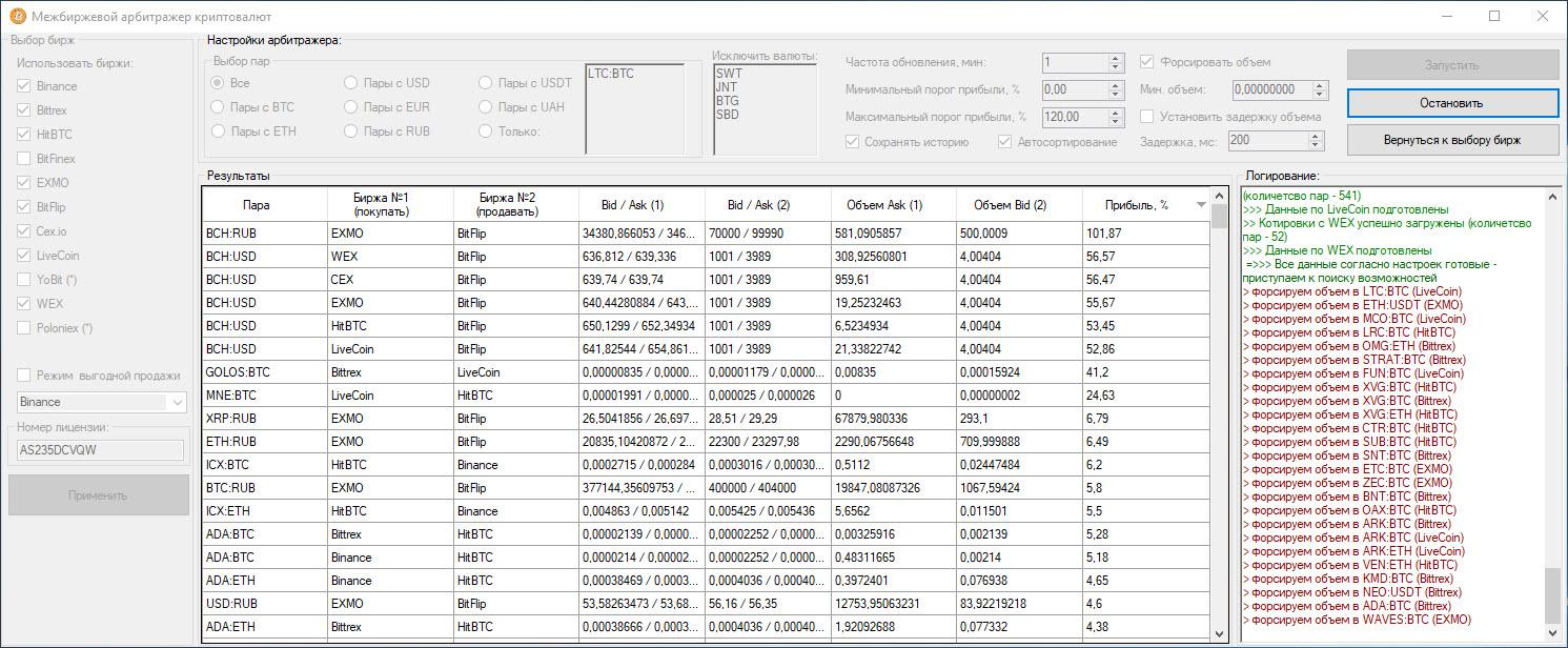 программа - межбиржевой арбитраж криптовалют