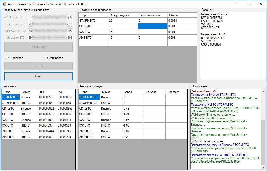 Арбитражный высокочастотный арбитражный робот между биржами Binance и HitBTC