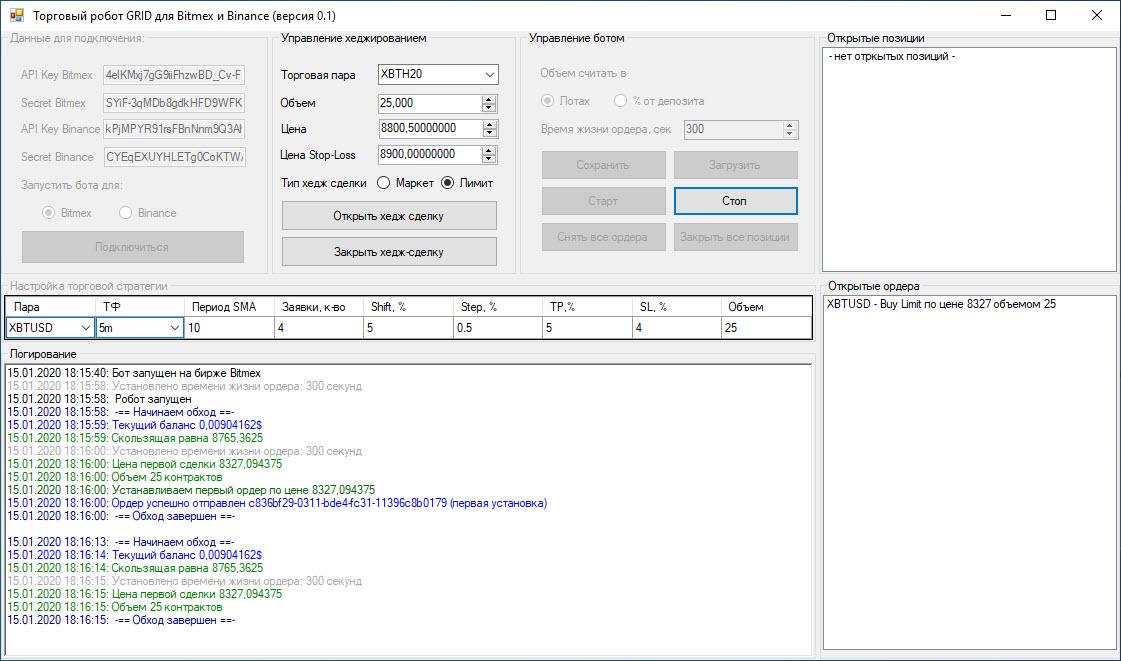 Торговый бот GRID для фьючерсов Binance и Bitmex
