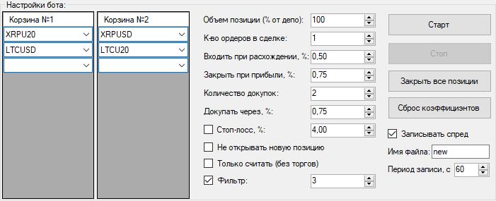 Настройки для режима кросс Bitmex
